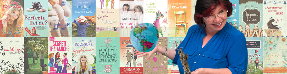 Montage of international editions of Milly's books